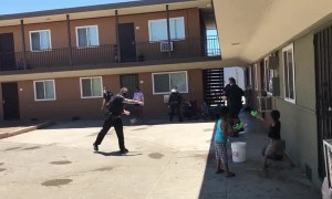 FPD Officers engage in epic water balloon fight with local kids