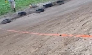 Little Girl's First Cart Race Goes Well