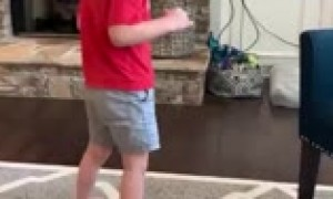 Little boy with progressive cerebellar atrophy takes his first independent steps