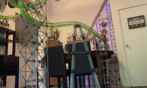 Man Builds 13-Foot-Tall Knex Roller Coaster That Travels Through His Apartment