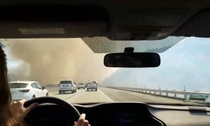 Intense highway footage of Soledad Fire in California