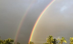 Double Rainbow Stretches across India Sunset