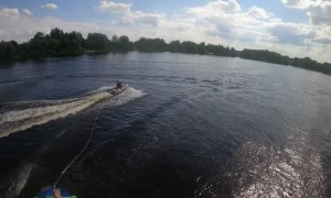 Inflatable Tube Nearly Clips Jet Ski