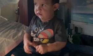 Toddler Caught Sneaking Ice Cream Cone