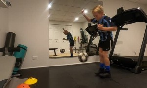 Kid Turns Treadmill into Tool for Soccer Practice
