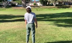 Dude Loses His Club during Attempt to Get His Golf Ball Out of a Tree