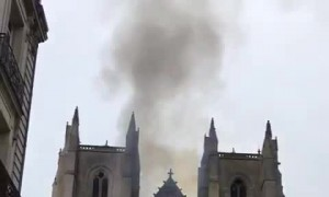 Beautiful Nantes cathedral is on fire