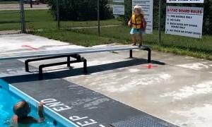 Brave Little Girl Practices Her Dives