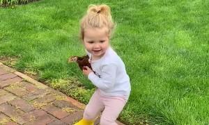 Girl Loves Her Little Chicken