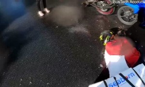Moped Accident on a Slippery Road