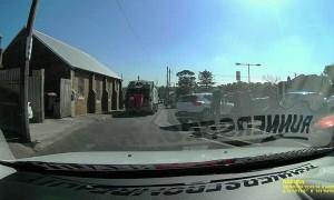 Car Loses Control in Laneway