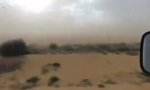Dust Storm Sweeps Across Outback Road