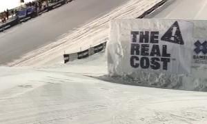 Snowboarder Slides Over Giant Jump