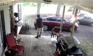 Delivery Driver Leaves Car in Drive