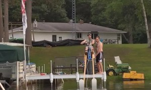 A New World Record for Water Skiing on Stilts