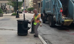 Chicago Worker Nails Trash Can Trick Shot