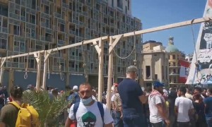 Protesters in Beirut set up symbolic nooses for corrupt politicians