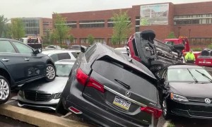 Possible tornado in Doylestown, PA destroys vehicles in hospital parking lot
