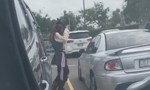 Pirate Greeting People at Hardware Store
