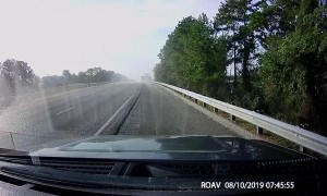 Car Swerves Into Semi and Gets Slammed