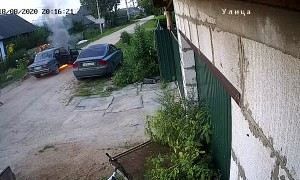 Car Unexpectedly Combusts on Road