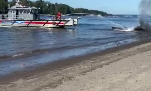 Fire Fighting Boat Extinguishes Engulfed Speedboat