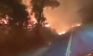 What it's like driving through a wildfire at night
