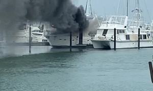 Boat Engulfed in Flames After Lightning Strike
