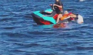 Friends Unable to Hold Onto Jet Ski