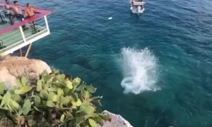 Sprinting Long Jump From Cliffs into the Sea
