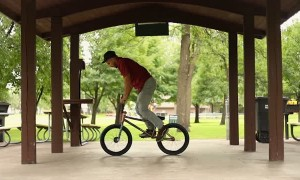 Dude Nails Incredible Kick Flip on Bike