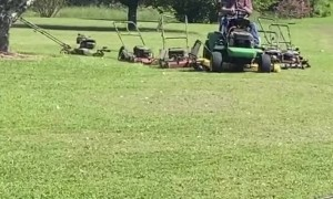 Man Uses Ingenious Trick to Extend Mowing Capacity