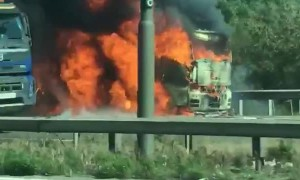 M25 lorry catch on fire between Heathrow and Uxbridge