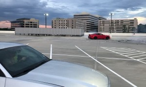 Mustang Manages to Find Pole in Parking Lot