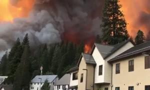 Close Footage of the Big Creek California Fire