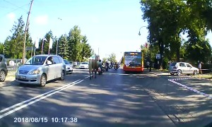 Horse Attacks a Group of Motorcyclists