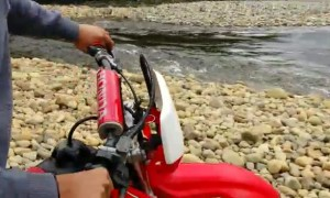 Motorcycle River Crossing Doesn't Go Great