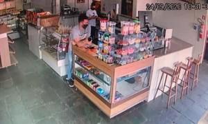 Coworker Captures Gas in Cup