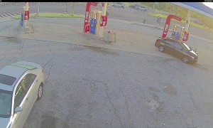 Trash Truck Tire Meets Car Caboose in Gas Station Conundrum