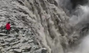 The immense power of the Dettifoss, a waterfall in Iceland