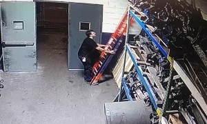 Slippery Surface Sends Man Crashing From Ladder