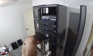 Server Slides and Falls on Guy