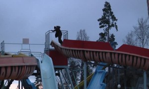 Snowboarder Fails Waterpark Slide Set