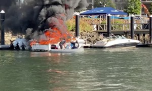 Flaming Boat Leaves Trail of Destruction as It Floats Across Harbor