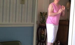 Grandma Surprised by Guest