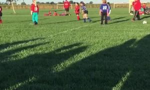 Girl Accidentally Kicks Soccer Ball into Girls Face