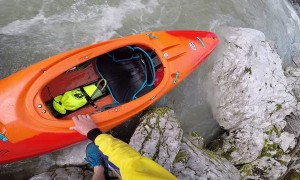 Kayaker Gets Caught on Tree during River Lap