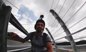 Guy Nails Base Jump On Rainy Suspension Bridge