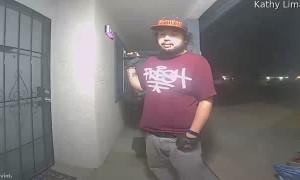 Stranger with Big Blade on Doorbell Camera
