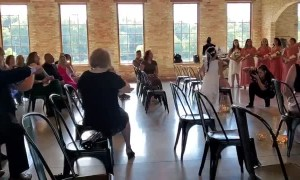 Flower Girl Gets a Kick Out of Wedding